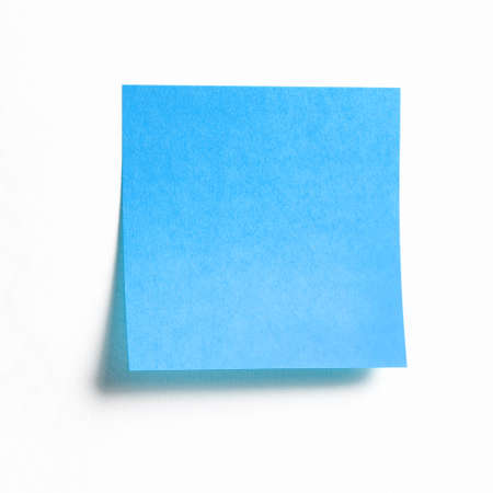 Blue sticky note isolated on white background, front view adhesive paper with copy space Foto de archivo