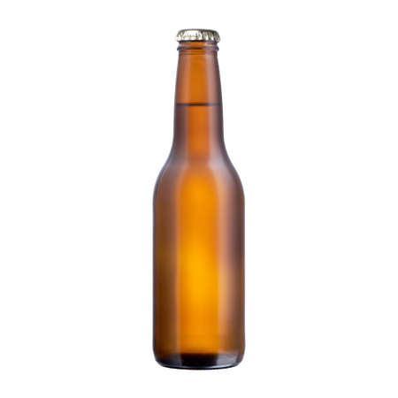 Brown glass bottle full of beer with cap isolated on white background, front view bottled product with no label cutout Stockfoto