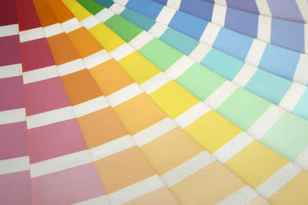 A paint swatch fanned out to reveal different colours. Stock Photo - 252062