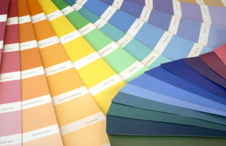 fanned: 2 swatches fanned out to reveal various colours Stock Photo
