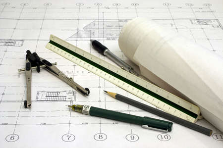 Architectural Drawings with Various Drawing Tools Stock Photo