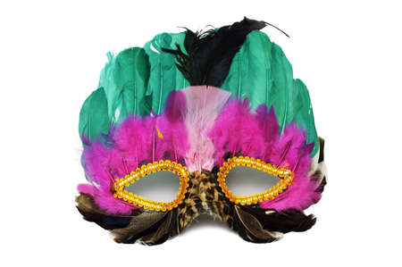 Mask - A colourful, decorative, feathered mask isolated on white background.