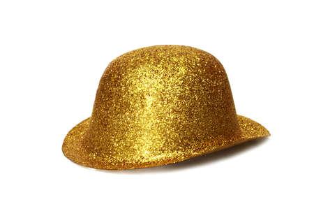 Goud partij Hat - Geïsoleerde op witte achtergrond Stockfoto