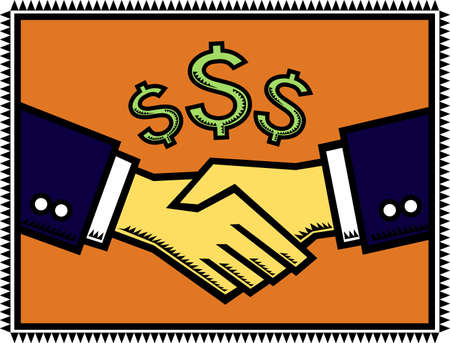 negotiations: A Win-Win Deal - An illustration of a handshake after successful negotiations, with dollar-signs signifying profitabe gains.