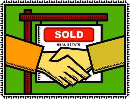 home owner: Property Sold - Illustration of a handshake between a property seller and buyer infront of a