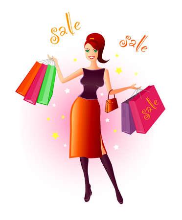 materialistic: Di gioia Shopping - Illustrazione di uno molto felice, giovane donna con molti sacchetti nelle sue mani dopo un affare vendita.