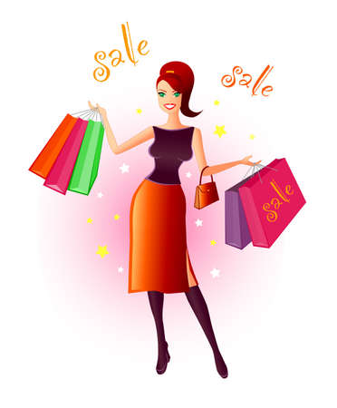 Joy Of Shopping - Illustration of a very happy, young woman with many shopping bags in her hands after a bargain sale. Stock Illustration - 277237