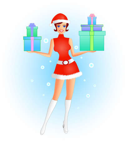Santarina - An illustration of a female in a sexy santa costume, with many  presents in her hands to give away.