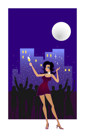 Lets Celebrate! - An illustration of a happy woman raising her glass of champagne and partying outdoors at an apartment balcony. A silhouette of a party crowd in the background is throwing confetti into the air and partyingunder a full moon.