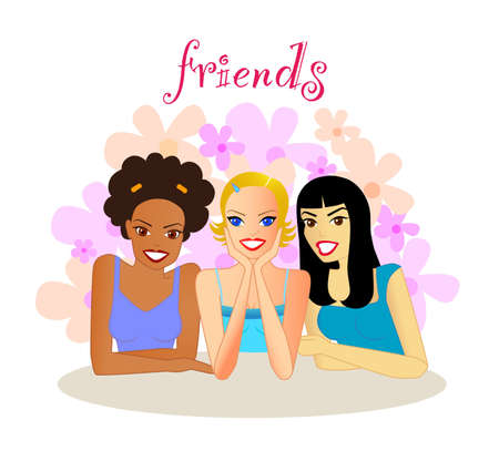 Friends - An illustration of a group of smiling young women of different ethnicity, sitting together enjoying each others company.