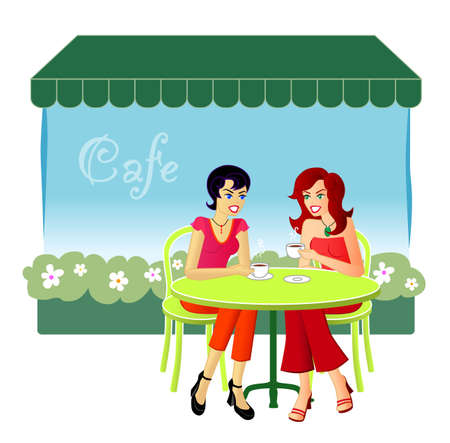 At The Cafe - An illustration of two female friends catching up over drinks at a cafe.