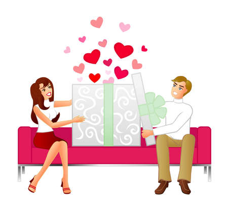 Gift Of Love - An illustration of a couple sitting on a modern sofa opening a huge gift. Love hearts leap out when the box is opened.