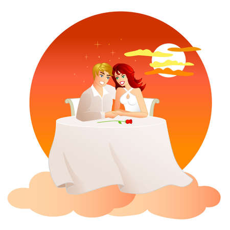 On Cloud Nine - An illustration of a couple very much in love, on a date. They are floating on clouds with a red sunset behind them. Stock Photo