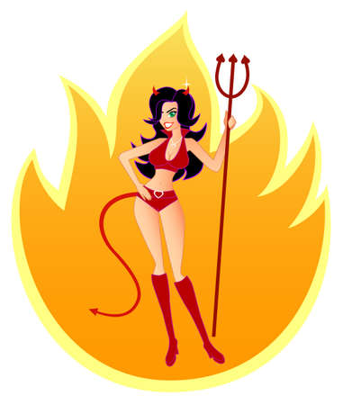 Hot, Sexy She-Devil.  Similar illustration  in isolated white background also available. illustration