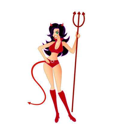 Hot, Sexy She-Devil (Isolated).  Similar illustration  with flame background also available.