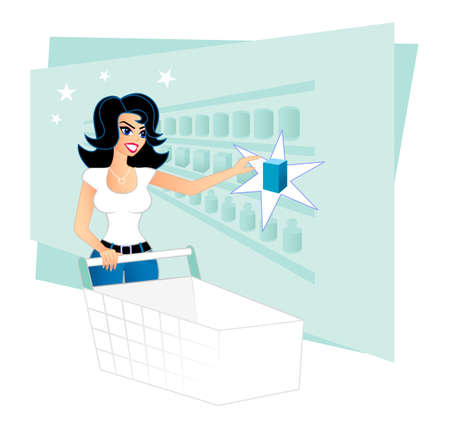 Making The Right Choices At The Supermarket. The generic unmarked products can represent anything from food & beverage, chemicals to pharmaceuticals. Stock Photo