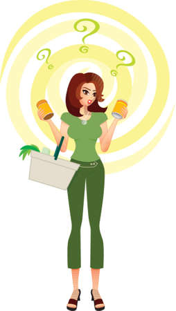 eating questions: Confused Consumer-A shopper in a supermarket tries to make a decision between the products she holds in her hands. She faces many choices and issues -which product, brand, environmental impact, health, nutrition,  price, value for money & savings Illustration