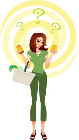 Consument verward-A shopper in een supermarkt probeert om een beslissing te nemen tussen de producten die zij in het bezit is in haar handen. Ze geconfronteerd wordt met veel keuzes en thema-welk product, merk, de milieueffecten, gezondheid, voeding, prijs, waarde voor geld & besparingen Vector Illustratie