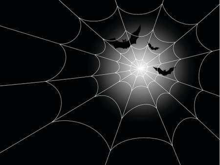 haunting: Illustration of red-eyed bats in flight against a moonlit night, with a spiderweb in the foreground. Fully editable vector file.