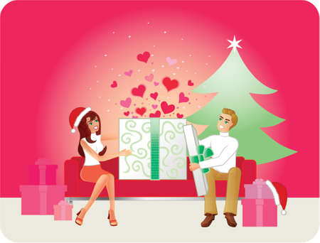 settee: Gift Of Love - Christmas Version. A couple sitting on a modern sofa open their Christmas gifts. Hearts leap out when the box is opened. A similar generic version also available at http:www.123rf.comphoto_280943.html Illustration