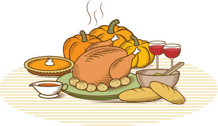 roast dinner: Woodcut style illustration of turkey with pumpkin pie, pumpkins, potatoes, salad, vegetables, gravy, bread & wine.  Duotone colour version of this illustration with different backgrounds also available in my portfolio. Illustration
