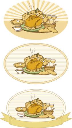 pane e vino: Legno in stile illustrazione di tacchino con la zucca torta, zucca, patate, insalate, verdure, salsa, pane e vino con diversi sfondi. Colore versione di questa illustrazione disponibile anche nel mio portafoglio.  Vettoriali