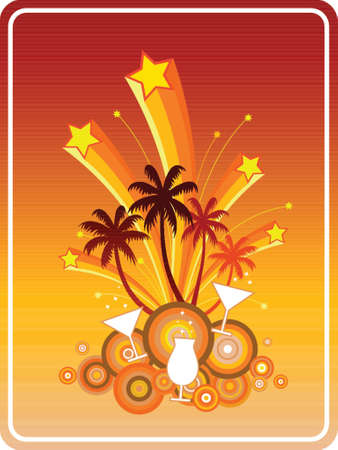Summer Party-Symbolic illustration in retro style of a fun beach party with coconut trees, cocktails, martinis, exploding fireworks and stars. Vector