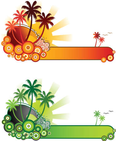Tropical Beach Banner-Retro style vector illustration of sea surf, palm trees and sunshine in two colour themes