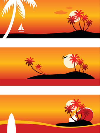 Summer Vacation-Vector landscape (top-bottom): Cruising in a yacht; Airplane over an island; Surfboard and a huge wave. Illustration