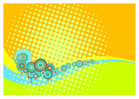 summery: Retro background with circles, wavy lines and halftone dots in bright summery colours