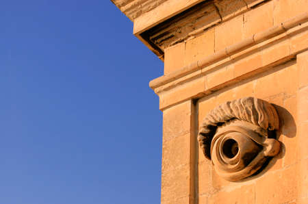 malta cities: Detail of the eye carving on the Vedette in Senglea, one of the Three Cities of Malta
