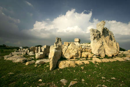Megalithic Temples of Hagar Qim, A UNESCO site in Malta Stock Photo