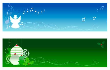fondos religiosos: Banderas de Navidad con el espacio de la copia. La bandera superior ofrece un �ngel el cantar y los ornamentos y acebo del �rbol de Navidad de las caracter�sticas de la bandera del fondo