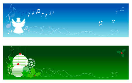 Christmas banners with copy space. Top banner features a singing angel and bottom  banner features Christmas tree ornaments & holly Stock Vector - 2050881