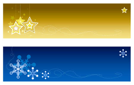 vector banners or headers: Christmas winter banners with copy space. Top banner features a Christmas star ornaments and bottom  banner features snowflakes Illustration