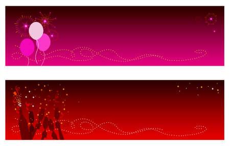 globos fiesta: Banderas de los d�as de fiesta festivos y del A�o Nuevo con el espacio de la copia. La bandera superior ofrece los globos del partido con los fuegos artificiales y el champ�n y el confetti inferiores de las caracter�sticas de la bandera