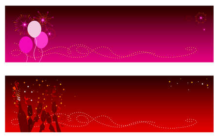 top year: Festive Holidays & New Year banners with copy space. Top banner features party balloons with fireworks and bottom  banner features champagne and confetti