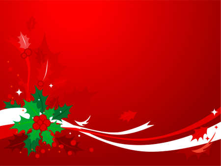 'yule tide': Christmas Holly Background #1-Red & green Christmas background of holly and ribbons.