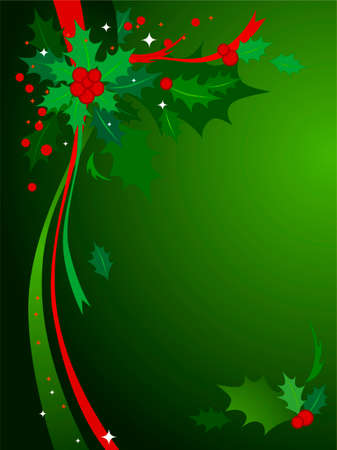 Christmas Holly Background #3-Green & red themed Christmas background of holly and ribbons.