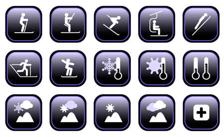 Set of various winter ski sports and weather icons Illustration