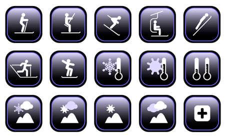 Set van verschillende winter ski-sport en weer iconen