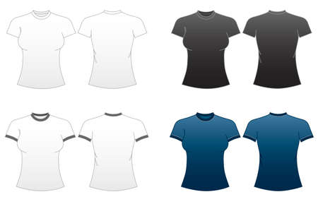 ringer: Womens Fitted T-shirt Templates Series 1-roundneck and ringer tees  Illustration