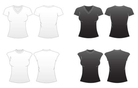 Womens Fitted T-shirt Templates Series 2-V-necked and Capped Sleeve Tees Illustration