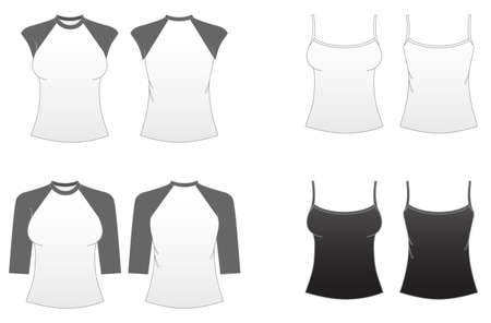 sleeves: Womens Fitted T-shirt Templates Series 3-Spaghetti Strap Sleeveless,Cap Sleeve and Baseball Tees Illustration