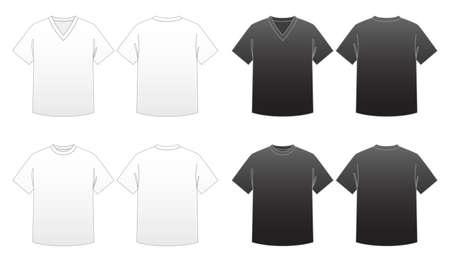 neck�: Hombre Camiseta de las plantillas de la serie 1-V-cuello y cuello redondo t� Vectores