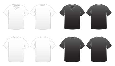 Mens T-shirt Templates Series 1-V-neck and Round-neck tees