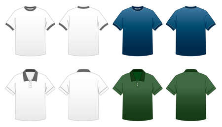 Mens T-shirt Templates Series 2-Ringer and Collared Polo Tees Vector