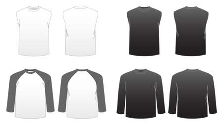 �rmel: Men's T-Shirt-Vorlagen Serie 3-Long Sleeve, Baseball-und Sleeveless Muskel-T-St�cke Illustration