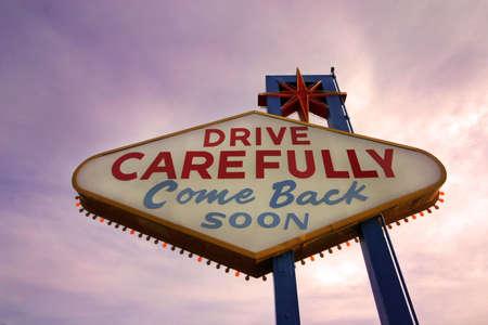 las vegas lights: Come Back Soon Las Vegas Sign at Sunset