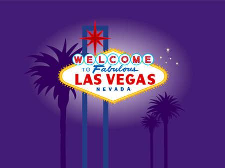 welcome sign: Illustration de Las Vegas signe la Nuit de palmiers � l'arri�re-plan